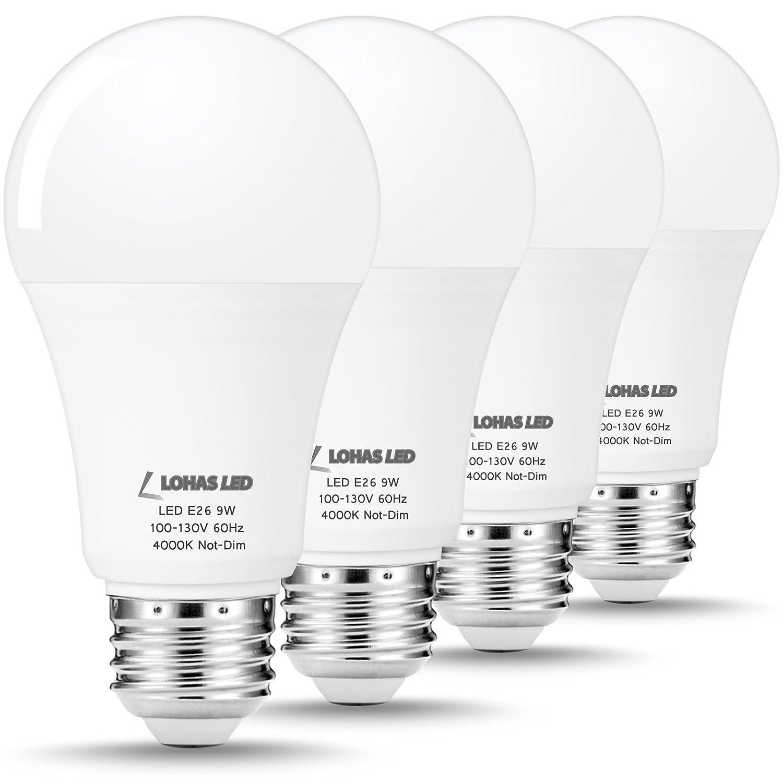 LOHAS a19 LED電球、60ワット相当ライト、デイライト4000 K LED電球e26ミディアムスクリューベース、自然、9 W LEDランプ800ルーメンのホーム照明、調光機能付きません、4パック B07DVB31KG