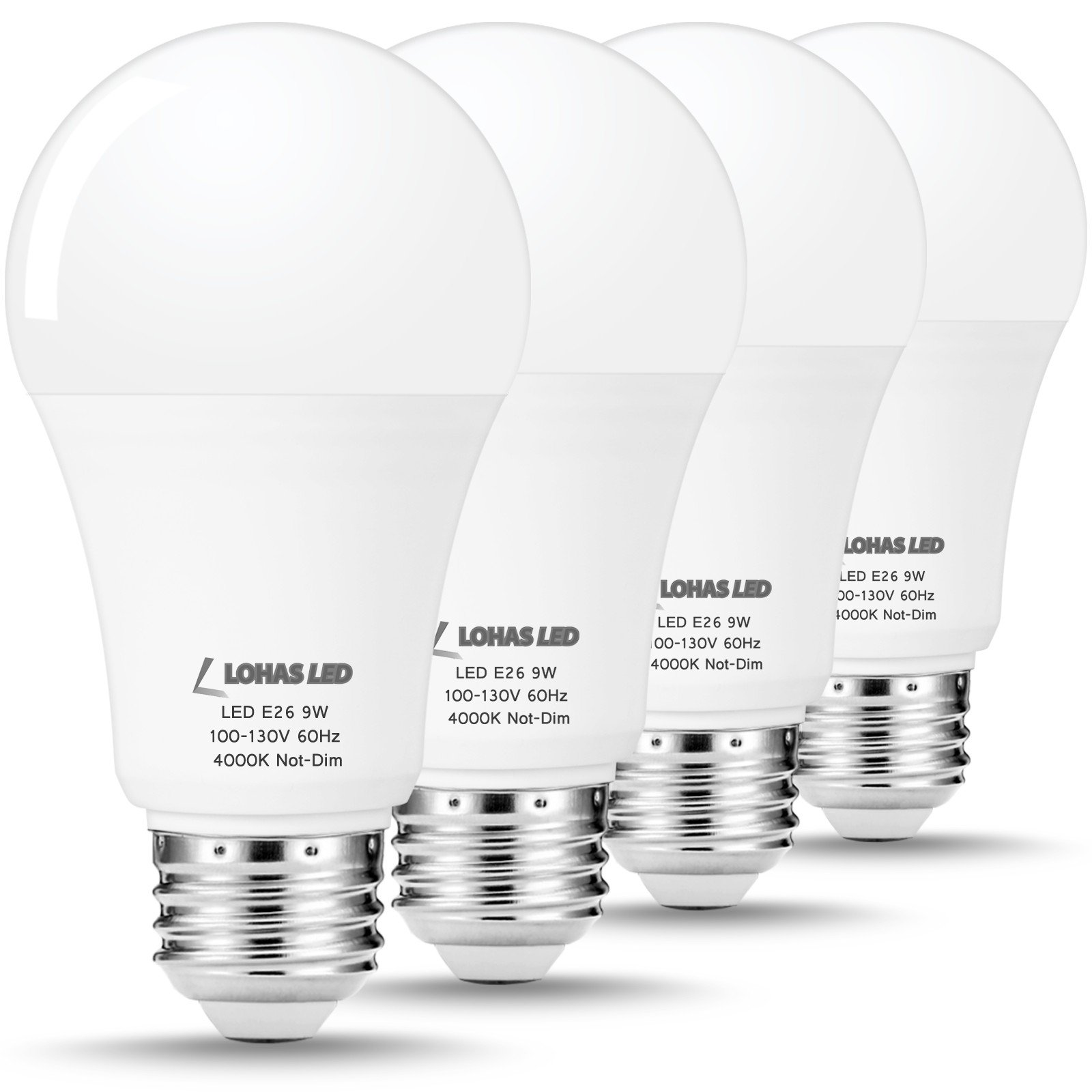 LOHAS A19 4000K LED Bulb, 60W Equivalent(9W LED), E26 Medium Screw Base, Natural Daylight Light Bulbs, Not Dimmable, 800 Lumens, Energy Saving Lighting for Restroom, Kitchen Lamp(4 PACK)