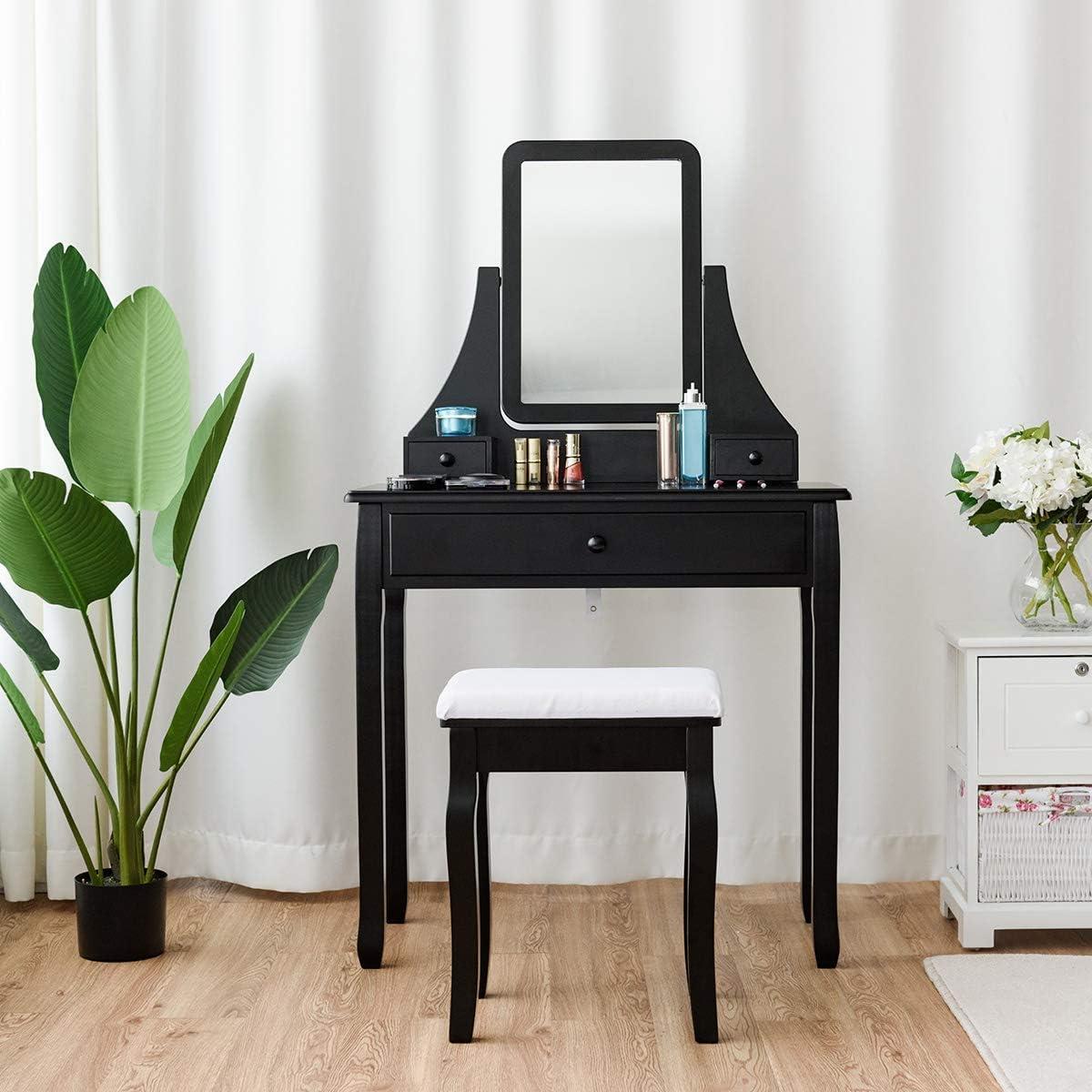 Casart Vanity Dressing Table Set Home Bedroom Bathroom 360 Rotate Mirror Pine Wood Legs Padded Stool Dressing Table Girls Make Up Vanity Set w Stool Black