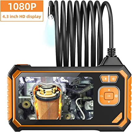 Tsai Industrie Endoskopkamera 1080p Hd 5 5mm Hand Digitale Inspektionskamera 4 3 Zoll Bildschirm Endoskop Kamera Mit 5 Meter Kabel 6 Led Licht Ip67 Wasserdicht Linse Auto