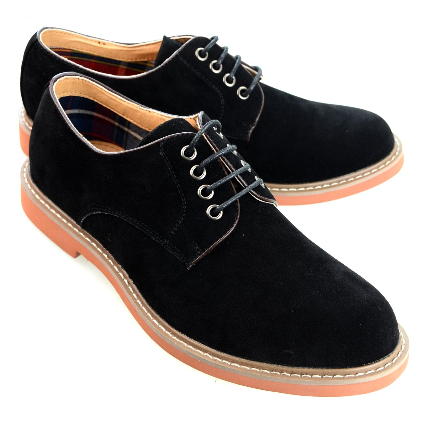 O-NINE Mens casual shoes mens fashion sneakers Derby Shoes High-Top Casual sneakers leather feel Lace-up Unisex Plain toe Mule Antique Low-Top Sneaker Boots Color Stitching Mountain boots black 43 EU (US Men's 10 M)