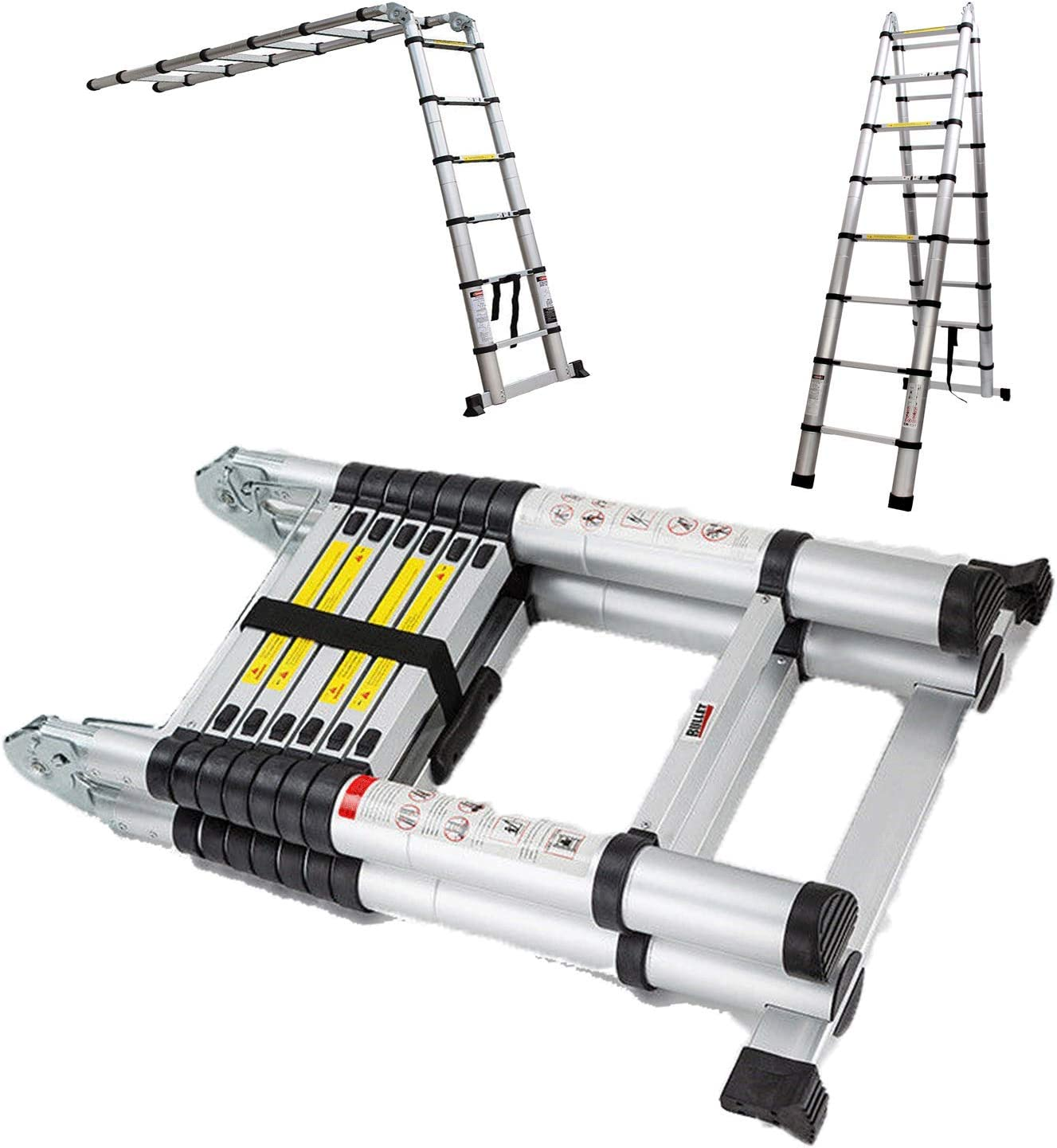16.4 Ft Aluminum Telescopic Ladder Telescoping A-Type Extendable Multi-Purpose Ladder Heavy Duty Folding Combination Ladder 330 lbs Capacity for Indoor Outdoor Work 8.2 ft + 8.2 ft