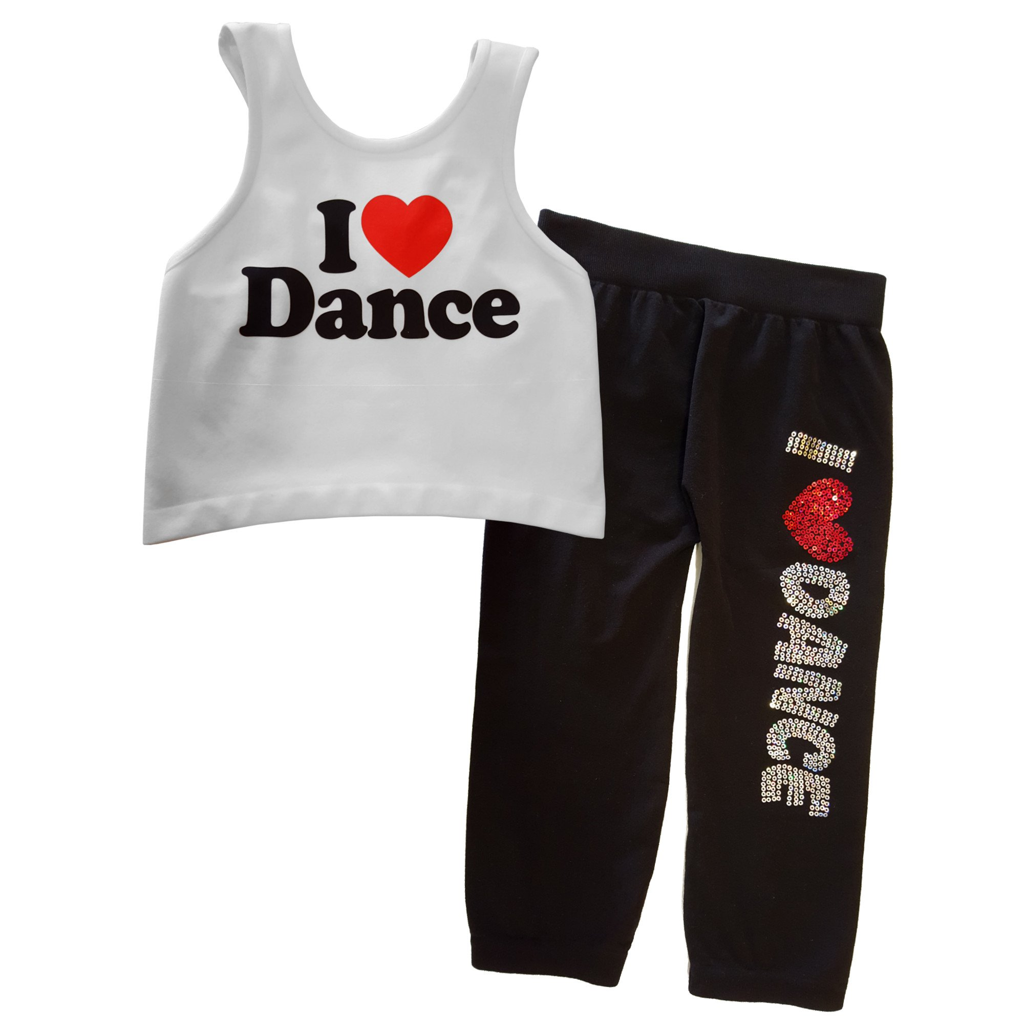 Idea Girl's I Love Dance Racerback Crop Top and Capri Leggings Set by Idea (Image #1)