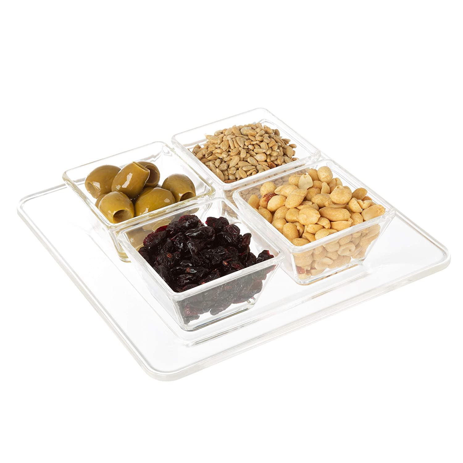 Garnishes and More and More, Classic Cuisine 82-KIT1099 Serving Tray with 2 Dishes Condiment Platter with Separate Bowls for Appetizers Veggies Chips Snacks Dips