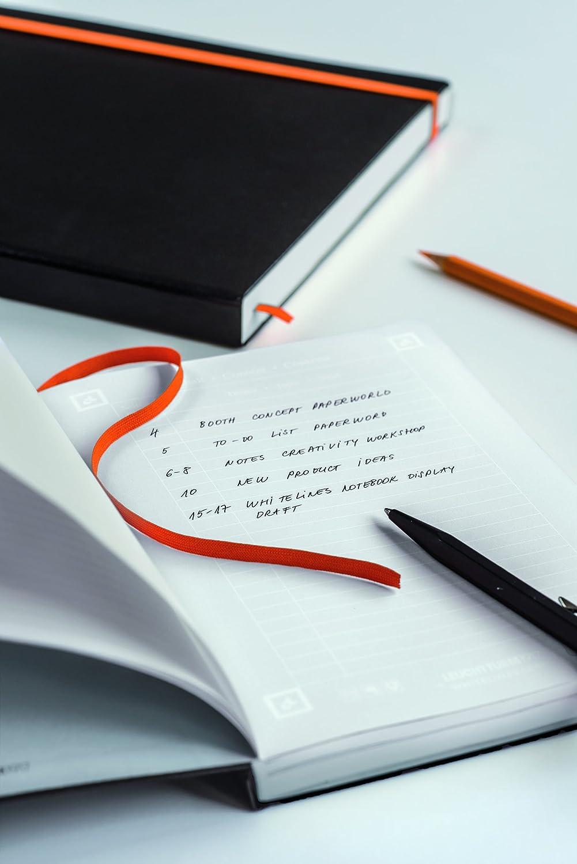 251 Seiten LEUCHTTURM1917 345312 Notizbuch Medium dotted Whitelines Link A5 Hardcover Schwarz-Orange