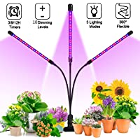 Zowella Grow Light, Grow Lights for Indoor Plants, 30W LED Tri Head Plant Light with 10 Dimmable Levels, 60 Full Spectrum Bulbs, 3/6/12h Timer, Adjustable Gooseneck with Desk Clip On