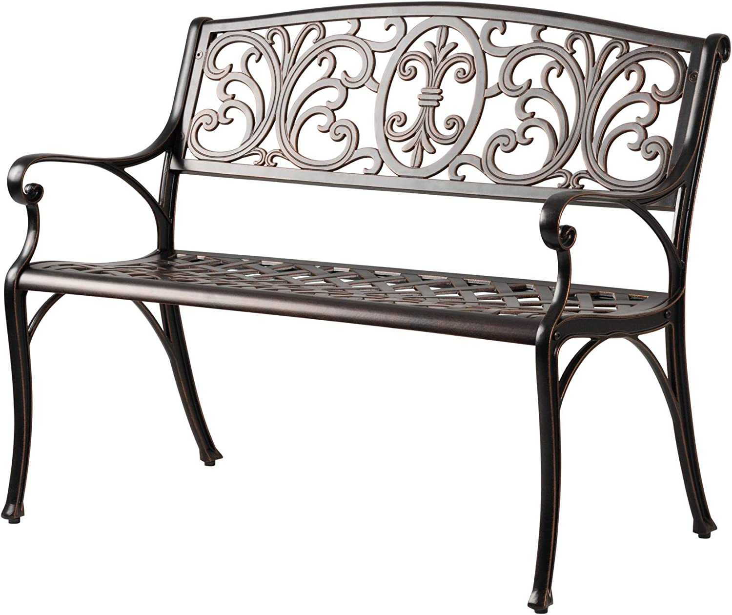 Patio Sense Decatur Cast Aluminum Patio Bench | Antique Bronze Finish | Heavy Duty Rust Free Metal Construction | Lightweight | Easy Assembly | For Front Porch, Backyard, Lawn, Garden, Pool, Deck