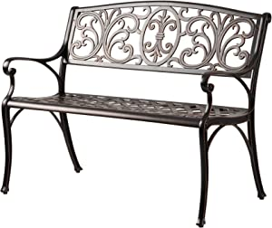 Patio Sense Decatur Cast Aluminum Patio Bench | Antique Bronze Finish | Heavy Duty Rust Free Metal Construction | Lightweight | Easy Assembly | For Front Porch, Backyard, Lawn, Garden, Pool, Deck