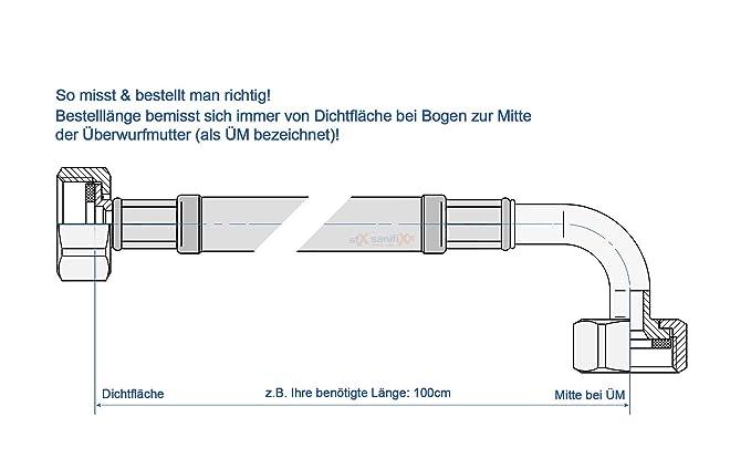 DN8 f/ür Trink oder Nutzwasser Panzerschlauch 1//2/ÜM x 1//2/ÜM Bogen