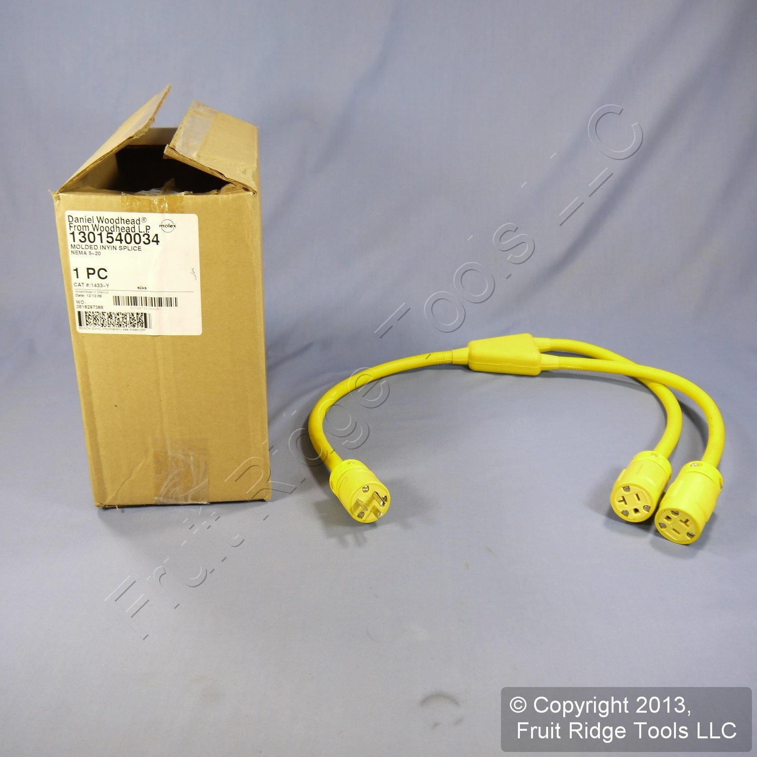 Woodhead 1433-Y Super-Safeway Molded Y Cordset, Industrial Duty, Straight Blade, 2 Poles, 3 Wires, NEMA 5-20 Configuration, 12-Gauge SOOW Cord, Rubber, Yellow, 20A Current, 125V Voltage, 3ft Cord Length by Woodhead