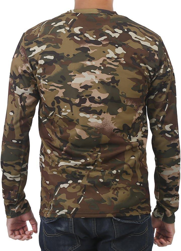 XL M L Camisetas de manga larga de camuflaje para hombres,Militar Fresco Camuflaje Caza de Tiro Camisetas para hombres Casual Fitness Camisas El/ásticas de Poli/éster Bolsillo Redondo Camiseta