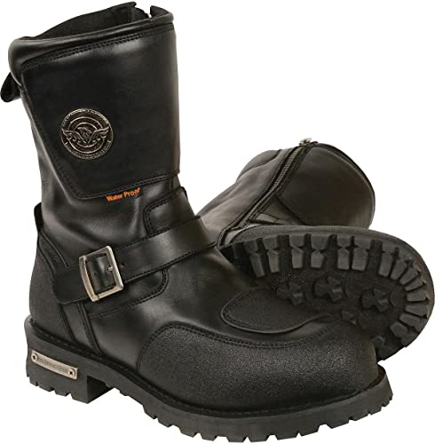Milwaukee Leather Mens Classic Engineer Boot Round Toe Black 9