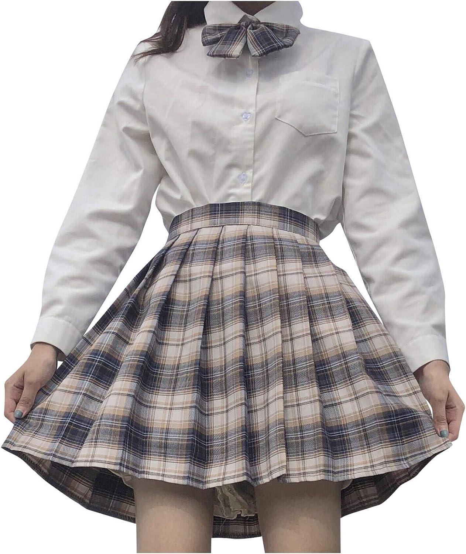 여자의 귀여운 격자 무늬 A 라인 LOLI JK PLEATED 치마 높은 허리 짧은 치마