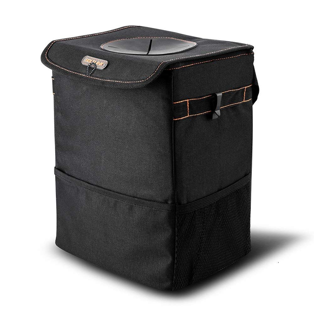 BOLTLINK Car Trash Can with Lid, Car Trash Bag Hanging for Headrest with Strap,100% Leak-Proof Vinyl Inside Lining, Great Portable Container and Garbage Can for Vehicle -Black