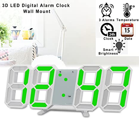 Reloj de pared LED, 3D LED Reloj despertador digital Montaje de pared para oficina electrónica
