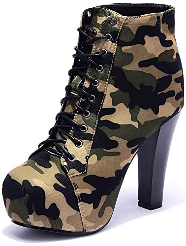 Womens Military Ankle Boots Camouflage Sexy High Heel Pumps Lace Up Platform Shoes