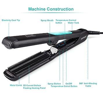 ... alisador de cabello, voltaje universal de doble cara Metal peine cepillo de pelo cabello Styler con libre guante resistente al calor: Amazon.es: Belleza
