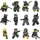 Mini Figures Set-12 Piece Army Minifigures SWAT Team with Military Weapons Accessories, Building Bricks of Policeman Soldier,Building Blocks Kids Educational Toy Gift Lego Compatible