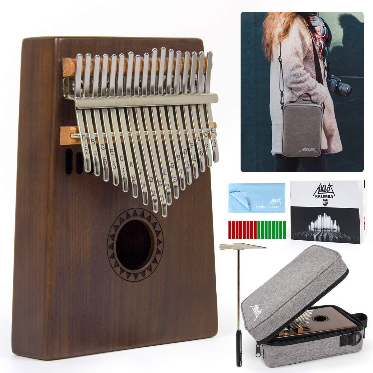 AKLOT Kalimba 17 Key, Solid Wood Thumb Piano Note Carved Starter Finger Piano with Kalimba Case Tune Hammer Study Booklet Stickers by AKLOT
