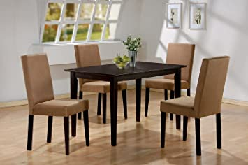 5pc Cappuccino Finish Dining Table U0026 4 Microfiber Parson Chairs Set