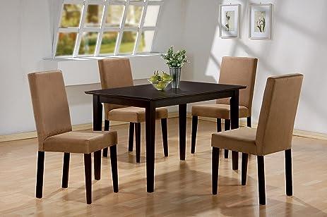 Amazon.com - 5pc Cappuccino Finish Dining Table & 4 Microfiber ...