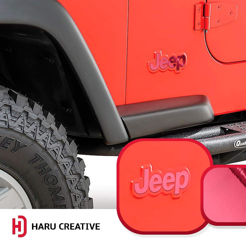 Haru Creative Chrome Dark Black Grey Fender Side Door Emblem Letter Overlay Vinyl Decal Sticker Compatible with and Fits Jeep Wrangler CL YJ 1976-1995