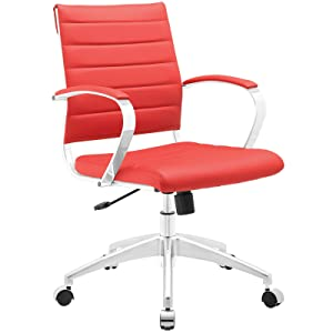 Modway Jive Ribbed Mid Back Computer Desk Swivel Office Chair In Red