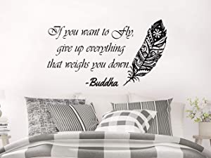 CreativeDecals Wall Decals Quotes Feather Vinyl Sticker Decal Quote Buddha If You Want to Fly give up Everything That Weighs You Down Home Decor Bedroom Art Design Interior NS757