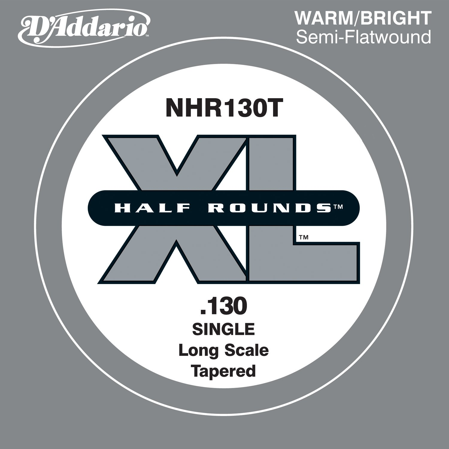D'Addario NHR130T Half Round Bass Guitar Single String, Long Scale .130, Tapered D' Addario