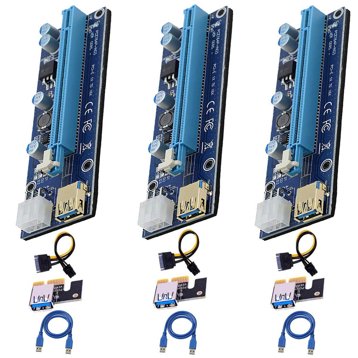 3 Pci-e Riser VER 009S Cripto mineria Con Cable SATA ELIATER