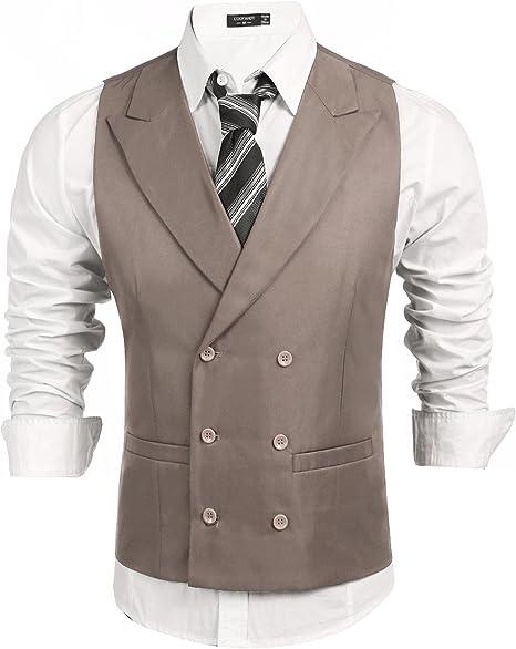 COOFANDY Herren Anzugweste Business stilvoll Zweireiher Anzug Weste Slim fit V Ausschnit Weste Basic Geschäftsweste