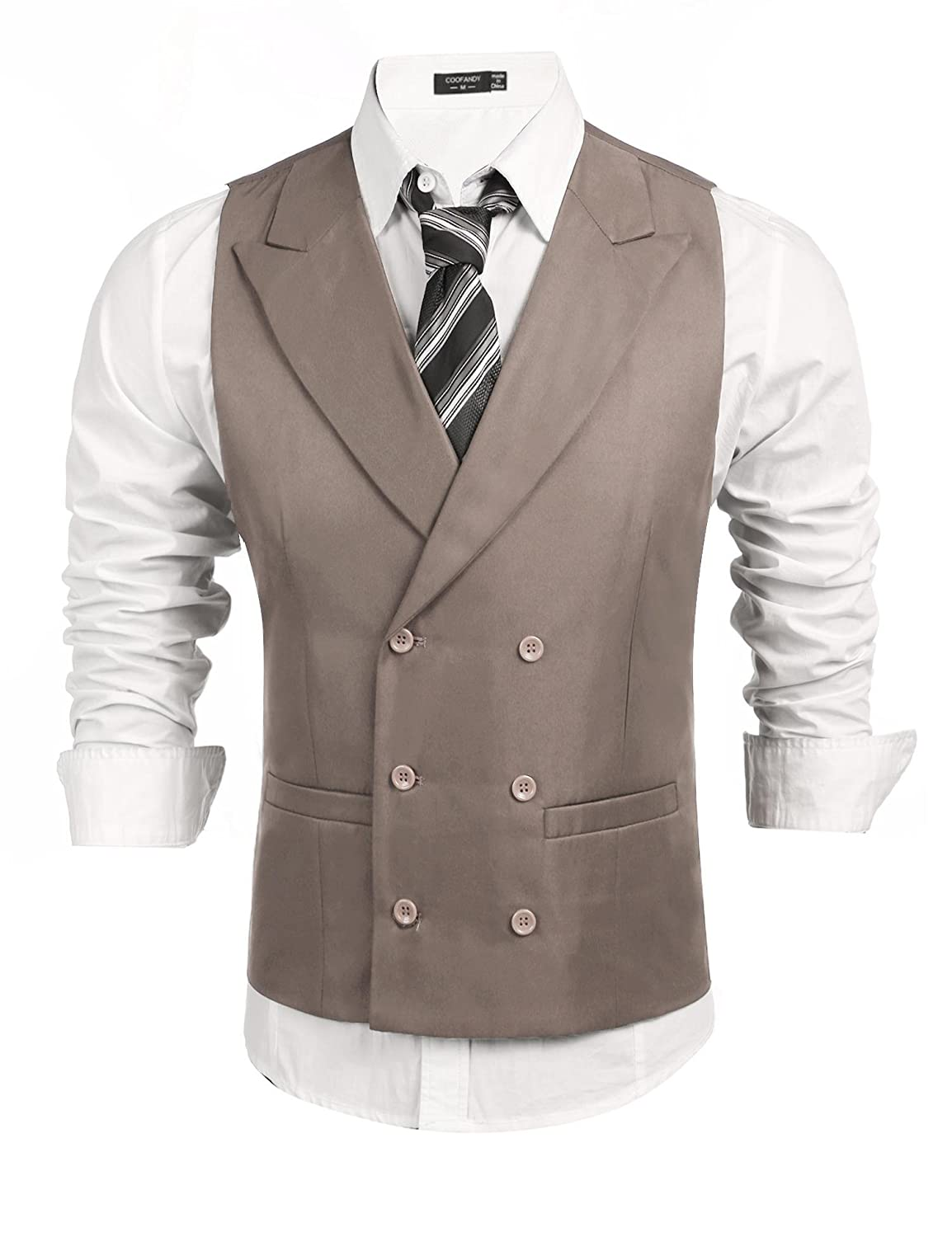 Coofandy Mens Waistcoat Double Breasted Slim Fit Formal Wedding Suit Vests