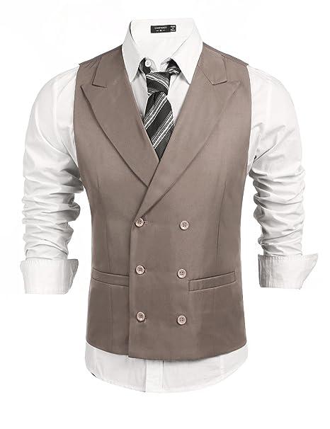 Coofandy Chalecos Hombre Traje de Negocios Cuello de Solapa Color Sólido Slim Fit