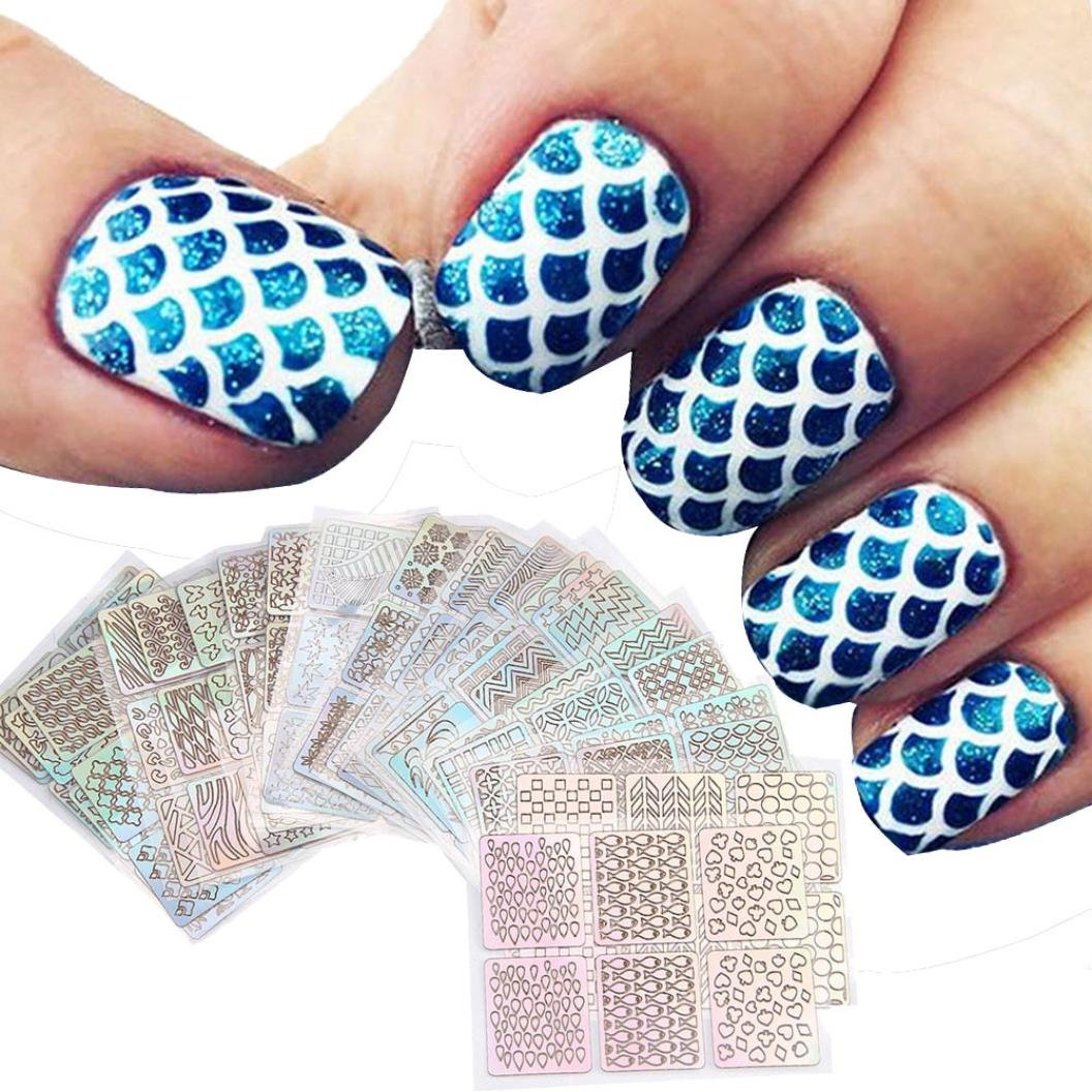 Coromose 24 Sheets New Nail Hollow Irregular Grid Stencil Reusable Manicure Stickers Stamping Template Nail Art Tools
