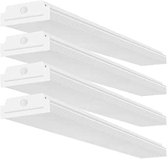 FaithSail 4FT LED Wraparound 40W Wrap Light, 4400lm, 4000K Neutral White, 4 Foot LED Shop Lights for Garage, 48 Inch LED Light Fixtures Ceiling Mount Office Light, Fluorescent Tube Replacement, 4 Pack