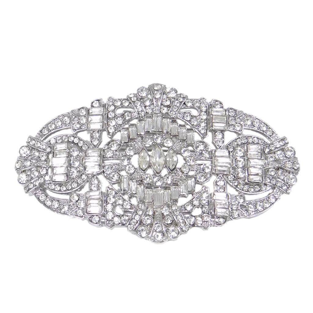 EVER FAITH Austrian Crystal Wedding Art Deco Buckle Brooch Clear Silver-tone