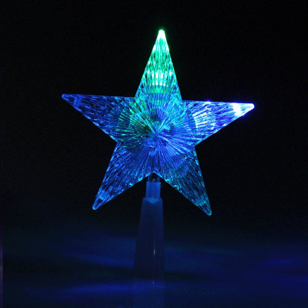 Christmas Treetop Light, Yoption Christmas Tree Top Light Star LED Light Treetop Light Xmas Decor Tree Decorations Ornaments Changing Light Lamp