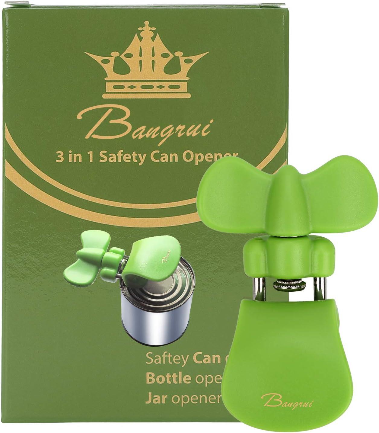 Bangrui Abrelatas Manual,abridor de Botellas,abridor de Botellas/&Abrelatas profesional3en1Bangrui.Los Bordes Son ordenados y Lisos.Adecuado para los usuarios Zurdos y al Aire Libre Verde