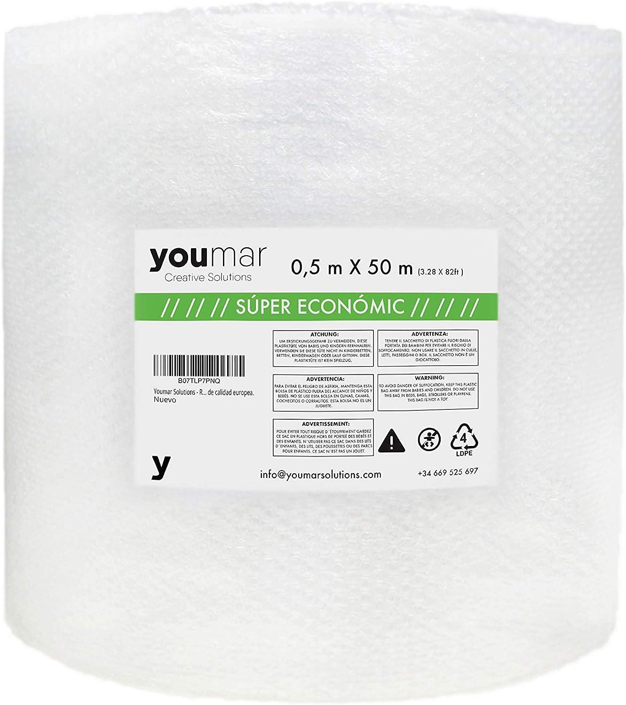 Youmar Solutions - Rollo De Plástico De Burbujas (0,5 Metro Ancho 50 Metros largo) Para Envolver Productos Frágiles En Transportes y Mudanzas. Alta Protección. Calidad Europea. (SUPER ECONOMIC)