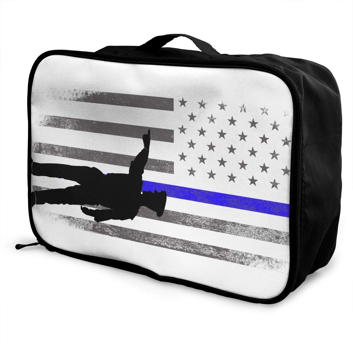 YueLJB Police Lives Matter Lightweight Large Capacity Portable Luggage Bag Travel Duffel Bag Storage Carry Luggage Duffle Tote Bag