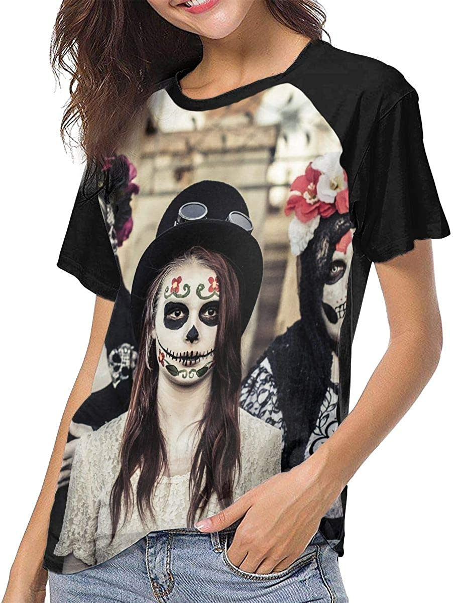 HualYwsl Zombies Womens Baseball Tee Short Sleeve Round Neck Casual Tops