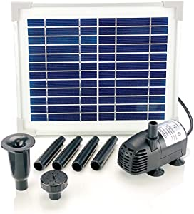 AEO Solar Water Pump KIT: DC Brushless Submersible Water Pump 124 GPH with 12V 5W Solar Panel for Birdbath Fountain, Fish Pond, and Garden Water Features (No Backup Battery)