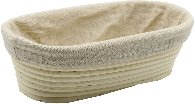 Stormshopping 9.8 inch Oval Long Banneton Brotform Bread Dough Proofing Rising Rattan Basket & Liner