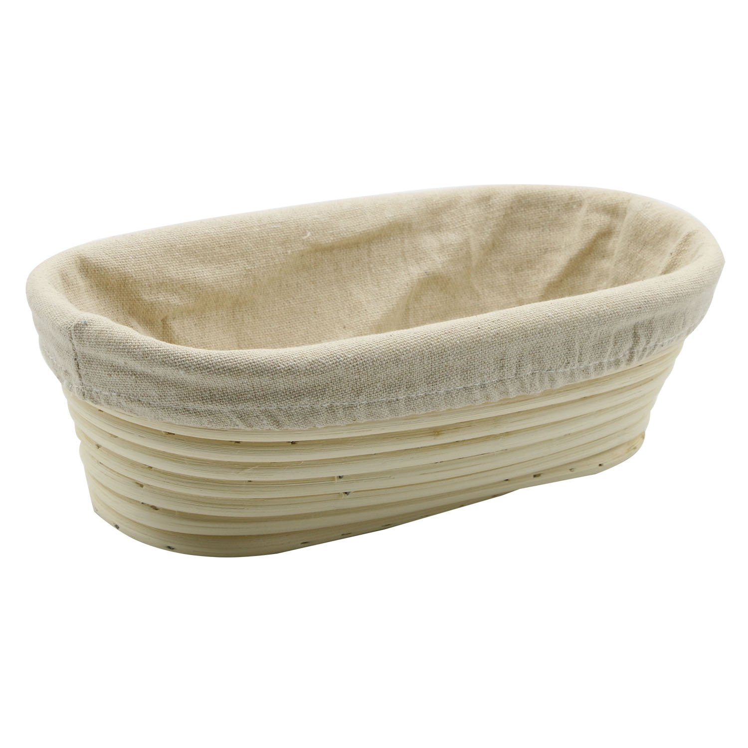 Stormshopping 9.8 inch Oval Long Banneton Brotform Bread Dough Proofing Rising Rattan Basket & Liner