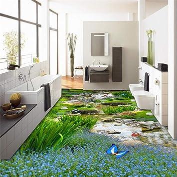 Jardín Pastizales Carpa de agua 3D Pintura de piso Moderno Personalizado Familia grande Autoadhesivo Suelos 3D,350x245cm: Amazon.es: Bricolaje y herramientas