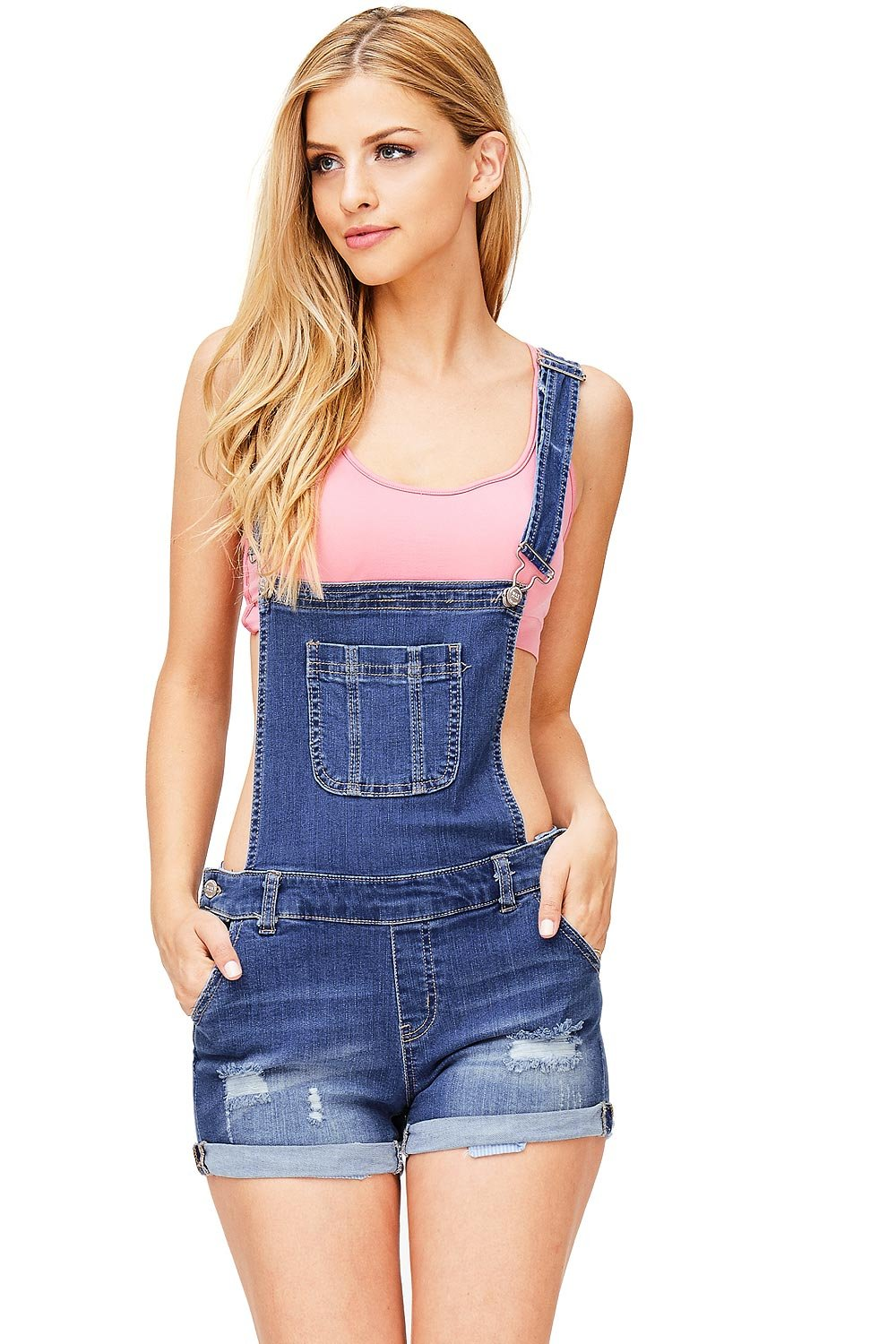 Wax Women's Juniors Cute Denim Overall Shorts (L, Dark Denim)