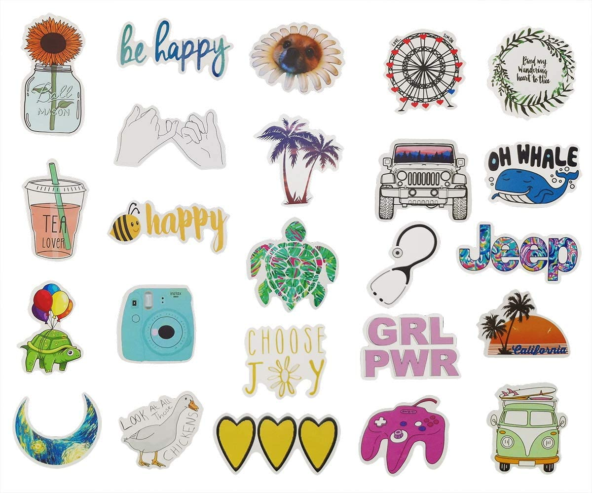 VSCO Stickers for Water Bottles - 60 pcs Waterproof Stickers for Hydroflasks, Laptop, Phone, Luggage, Skateboard, Guitar, Laptop- Cute Vinyl Stickers for Girls, Teens, Kids
