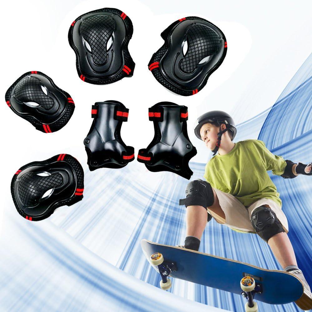 Sunmoch Kinder Erwachsene Skateboard Schoner Set Rollerskate Schutzset Rollschuhe Inline-Skates Kniebandage Protektorenset Schonersets,Knieschoner Ellbogenschoner und Handgelenkst/ütze Set
