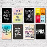Kit Placas Decorativas Frases Mdf - 8 Placas
