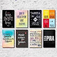 Kit Placas Decorativas Frases Mdf - 8 Placas